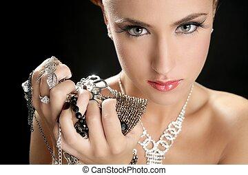kvinna, mode, smycken, glupskhet, ambition