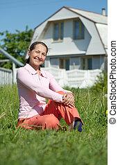kvinna, mot, mogna, lycklig, nytt hem