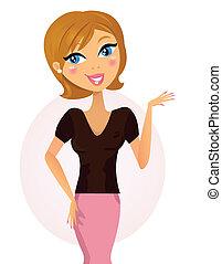 kvinna, något, affär, /, lycklig, presentation, visande, märken