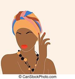 kvinna, ?ontemporary, afrikansk, stående