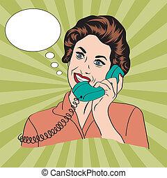 kvinna prata, ringa, popart, retro, komiker