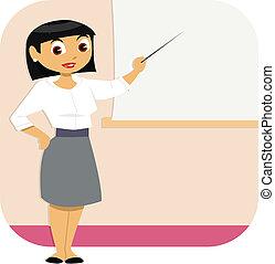 kvinna, presentation, affär