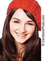 kvinna, röd hatt, le