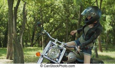 kvinna, rida, cyklist, motorcykel, klar, stilig