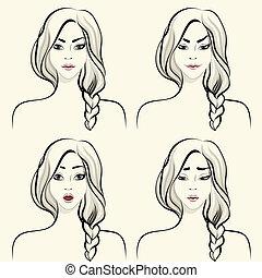 kvinna, sätta, ansiktsbehandling, sinnesrörelser