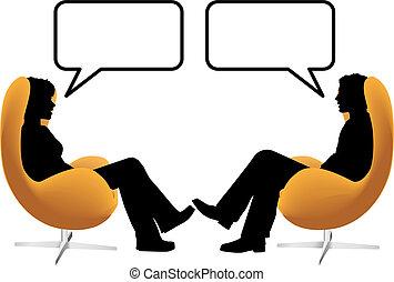 kvinna, sitta, stol, par, ägg, prata, man