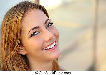 kvinna, skinn, le, perfekt, slät, vacker, vit