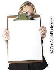 kvinna, skrivplatta