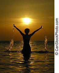 kvinna, soluppgång, dro