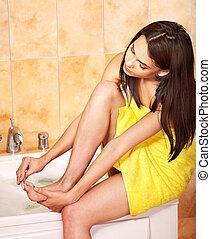 kvinna, ta, bath., bubbla
