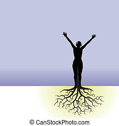 kvinna, träd, rötter