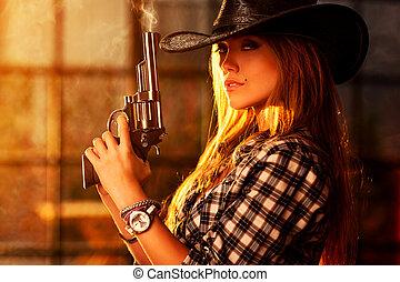 kvinna, ung, gevär