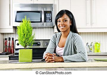 kvinna, ung, kök