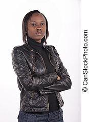 kvinna, uttryck, syd, svart, tröttsam, ung, allvarlig, afrikansk, läder, bakgrund., vit