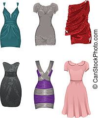 kvinnlig, klänningar