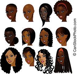 kvinnor, svart, vettar