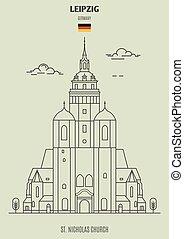 kyrka, germany., gränsmärke, leipzig, nikolaus, ikon, st.