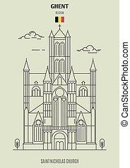 kyrka, ghent, gränsmärke, belgium., nikolaus, helgon, ikon