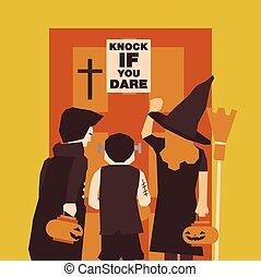 lägenhet, affisch, halloween, dracula, eller, bakgrund, parti, witch., baner, frankenstein, night.