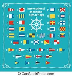 lägenhet, alphabet., illustration., signal, kust, vektor, hav, internationell, flags.
