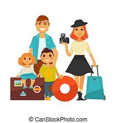 lägenhet, familj, folk, res ikon, semester, barn, vektor, kvinna, resa, man