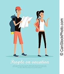 lägenhet, folk, semester, vektor, begreppsmässig, baner