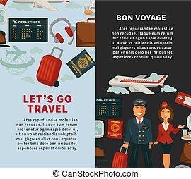 lägenhet, ikonen, affisch, resa, semester, eller, vektor, resande, resa