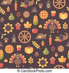 lägenhet, ikonen, pattern., seamless, illustration, tacksägelse, höst, bakgrund