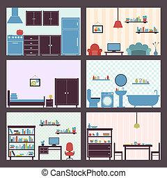 lägenhet, interiörer, sätta
