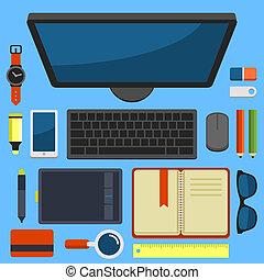 lägenhet, kontor, topp, vektor, design, workplace, synhåll