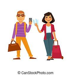lägenhet, kvinna, folk, res ikon, semester, vektor, helgdag, resa, man