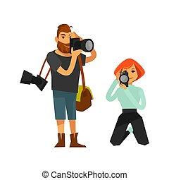 lägenhet, kvinna, ikonen, fotograf, paparazzi, vektor, journalist, kamera, eller, man