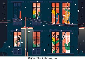 lägenhet, kvinna, rolig, fönstren, ung, holiday., fasad, synhåll, man