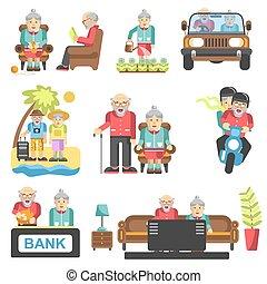 lägenhet, liv, äldre folk, stil, vektor, ikonen
