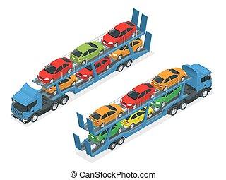 lägenhet, olik, illustration., bilar, transport, isometric, vektor, lastbil, slagen, bil, transporter, släpvagn, väg