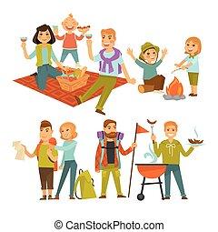 lägenhet, picknicken, släkt fotvandra, folk, ikonen, eller, vektor, barbecue, resa, camping