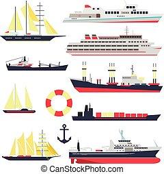 lägenhet, sätta, elementara, ikonen, yacht, isolerat, bakgrund., vektor, design, fartyg, hav, sänder, vit, flotta, style., transport