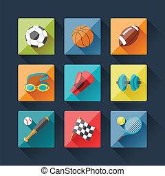 lägenhet, sätta, ikonen, design, sport, style.