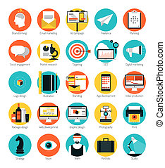 lägenhet, sätta, ikonen, marknadsföra, design, tjänsten