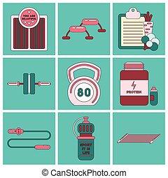 lägenhet, sätta, ikonen, utrustning, design, fitness