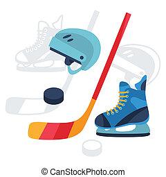 lägenhet, sätta, ikonen, utrustning, design, hockey, style.