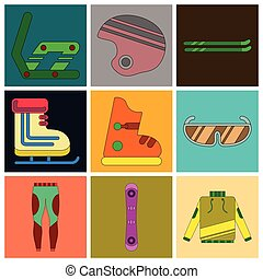 lägenhet, sätta, ikonen, utrustning, design, skida