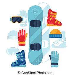 lägenhet, sätta, ikonen, utrustning, snowboard, design, style.