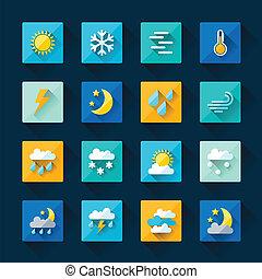 lägenhet, sätta, ikonen, väder, design, style.