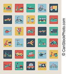 lägenhet, sätta, transport, ikonen
