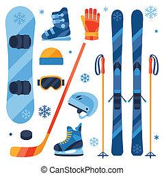 lägenhet, sätta, vinter, ikonen, sporter utrustning, design, style.