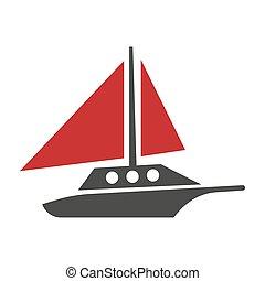 lägenhet, silhuett, yacht, isolerat, logotype, vektor, vit