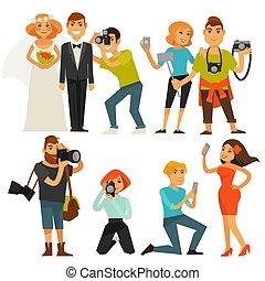 lägenhet, smartphone, ikonen, selfie, eller, resa, fotografer, vektor, bröllop, fotografi