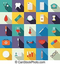lägenhet, stil, ikonen, sätta, utrustning, medicin