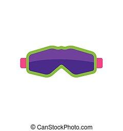 lägenhet, stil, maskera, goggles, skidåkning, snowboarding
